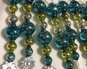 16 Vintage Style Mercury Glass Bead Icicle Christmas Ornaments
