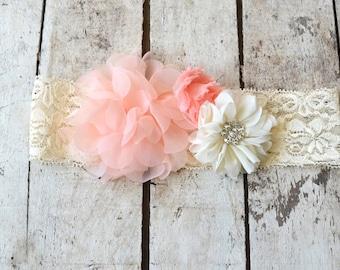 Blush Pink Ivory Lace Headband, Toddler Lace headband, Girls, Adult , headband, Flower girl headband, Wedding headpiece