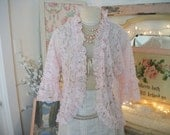 vintage dolores for poirette pink all lace jacket. unstructured, ruffled trim, bell sleeves, beautiful pale pink color, soft feminine style
