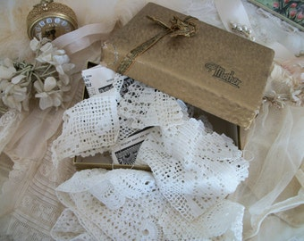 antique 'mother' candy box gold foil, metallic gold ribbon trim, with contents of old crochet lace bits and bobs, sweetly timeworn, shabby