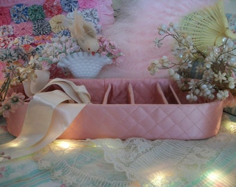 vintage pink satin quilted silk stocking sectioned box,  vintage 1940s