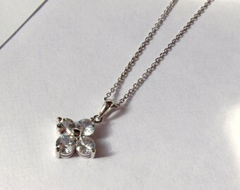 Clover Gold Necklace - 14k White or Yellow Gold - White Sapphires