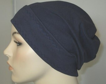 Navy Blue Slouch Chemo Cap, Cancer Hat, Alopecia, Modest Hat,