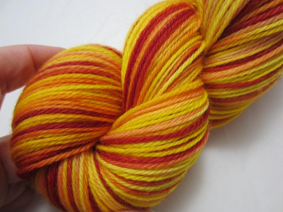 In Flames - Dyed to Order - Hand Dyed - Merino Wool Yarn - Fingering Weight