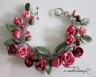 Maroon Rose Garden Charm Bracelet - Handmade Polymer Clay Rose Bracelet - Rose Jewelry - Handcrafted Rose Charm Bracelet