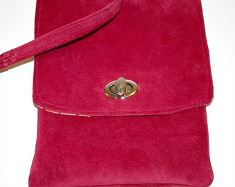 ON SALE Recycled Red Suede Cross Body Shouder Bag Small/Medium