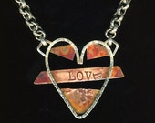 Copper and Sterling Heart LUV U Necklace with chunky silver chain