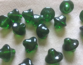 Vintage Glass Beads (10)(11mm) Emeral Green Czech Spinning Top Style Beads
