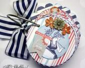 "Nautical ""SEASIDE"" Chipboard Coaster Mini Scrapbook Album, Photo Album, Journal, Vintage Inspired, Authentique Paper, Summer, Beach"