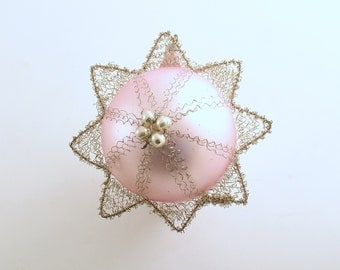 Vintage Christmas Decoration Pink Glass Ornament Crinkle Wire West Germany