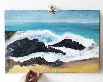 Vintage Painting -landscape, ocean waves