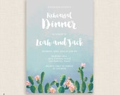 SUMMER & CACTI - DIY Printable Birthday Party Invitation - Brush Calligraphy - Cactus, Cacti, Calligraphy - Blue Watercolor