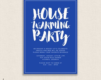 BRIGHT & BLUE - DIY Printable Housewarming Party Invitation - Modern Calligraphy - New Home