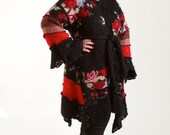 ON SALE Sweater Coat, Black with Red Rose Pattern, Petunia Patchwork Mohair Sweater Coat, Size Large (12-14)