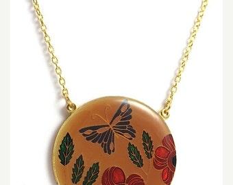 ON SALE Vintage Enamel Butterfly Orange Necklace