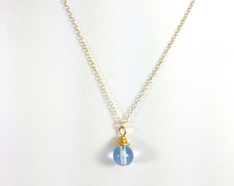 Blue and Gold Lucite Necklace, Gold Necklace, Gold Layering Necklace, Lucite Necklace