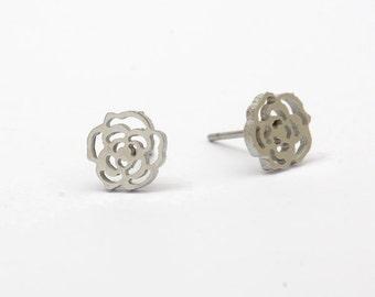 Flower Stainless Steel Earring Post Finding (EE413)