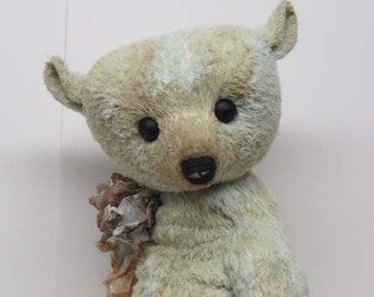 "RESERVED Artist Bear Well Loved Antique Style Teddy Bear Mint Green 16"" OOAK By Kim Endlich"