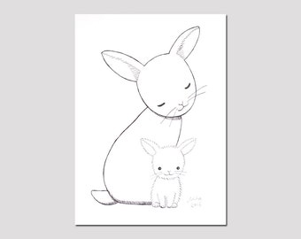 Bunny Nursery Decor Black & White Nursery Wall Art Bunny Rabbit Ink Drawing Print Woodland Nursery Baby Animal Nursery Illustration Print