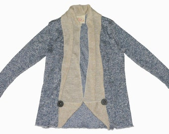 SAMPLE SALE -  Kathleen Cardigan in Navy - Size 3 - Beautiful soft heathered knit trimmed with cut pocket detail