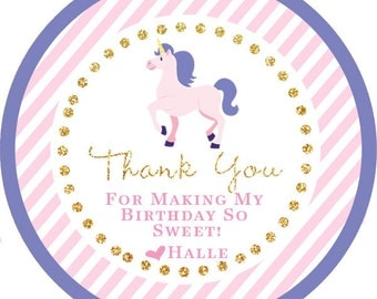 Unicorn Pink Purple Gold Party Pony Thank You PERSONALIZED Stickers, Tags, Labels, or Cupcake Toppers, various sizes, printed & shipped