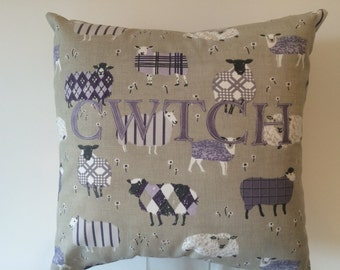 CWTCH cushion Sheep print fabric handmade in wales