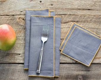 Charcoal Gray Linen with Yellow Edge, Cloth Napkins and Coasters, 100% linen