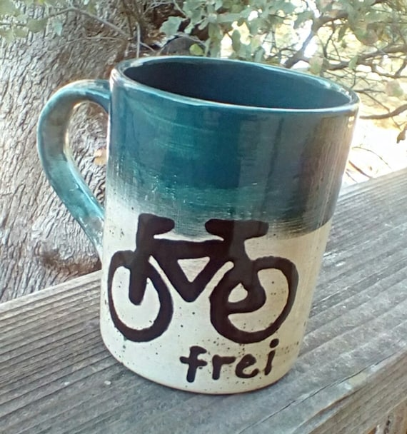 Personalized bike mug pottery coffee mug latte tea bistro mug made to order ceramic pottery mug personalized custom mountain bike rustic mug