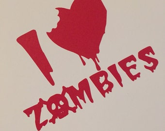 I Heart (love) Zombies Red Blood Decal