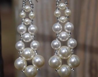 Swarovski Elements Ivory Pearl Bridal Wedding Prom Chandelier Earrings