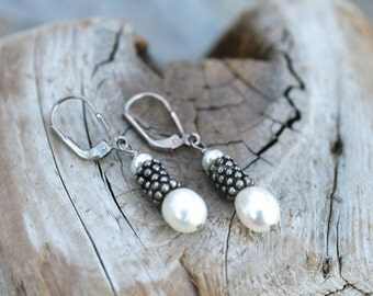 White Freshwater Pearl, Sterling Silver Lever Back Earrings, White Pearl Drop Earrings, June Birthstone, Birthstone Jewelry