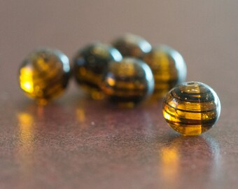 Vintage Tortoise Stripe Glass Beads Japan 8- 9mm (6) jpn005G