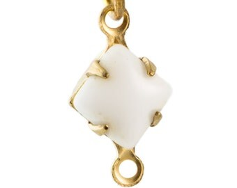 Opaque White Square Glass Stones in 2 Loop Brass Setting 6mm (8) squ001X2