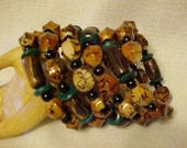 WRAP BRACELET~Memory Wire Bracelet~Primitive or BOHO Styling~Brown, Black, Tan Colors w/Hint of Blue~Very Stylish and Fashionable