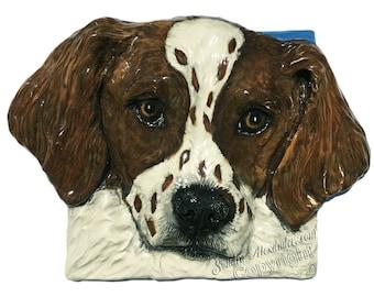 Brittany Spaniel hunting dog Ceramic Portrait Sculpture 3D Dog Art Tile In Stock