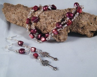 Pearls with Mother Of Pearl 2 strand bracelet and earrings with key charms