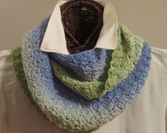 Meadow Greens to Sky Blue Hand-Dyed Knitted Infinity Scarf