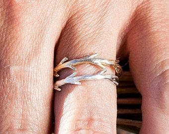 40% Off Sale Silver Twig & Gold Twig Ring Set | Stacking Rings | Nature Inspired Rings