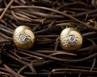 14k Diamond Pebble Studs | 14k Earrings