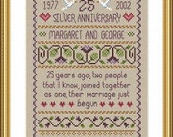 Counted Cross Stitch Pattern, Silver Wedding Cross Stitch Pattern by Little Dove Designs, Primitive Wedding Sampler, Anniversary