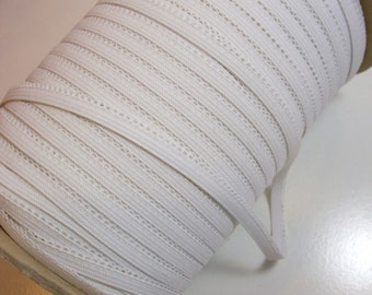 White Elastic, Vintage White Lace Edge Elastic Sewing Trim 1/4 inch wide x 10 yards