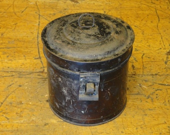 Vintage Tin Canister | Old Tin Canister | Antique Canister Hinged Lid