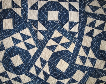 Vintage Blue Calico Fabric Quilt Piece | Antique Calico Quilt Piece |  Old Blue Calico Cutter Quilt Piece | 13 x 13 Piece of Old Quilt