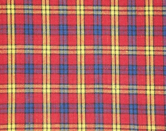 Homespun Material | Cotton Material | Quilt Material | Craft Material | Home Decor Material | Large Plaid Red Royal Yellow Black | 1 Yard