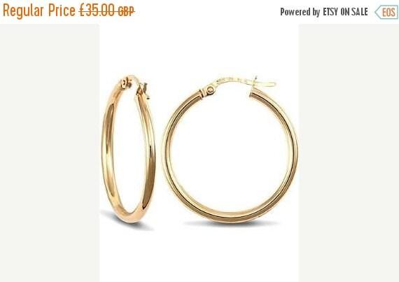 September Offer 15mm 9ct Gold Hoop Earrings, 2mm thick