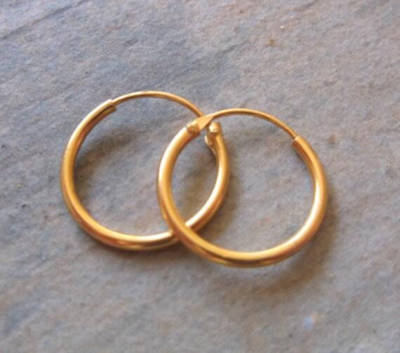 September Offer 18K Gold Dipped Sterling Silver  Small 10mm Hoop Earrings