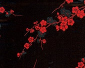 CHERRY BLOSSOM Black and Red Silk Brocade Coin Purse