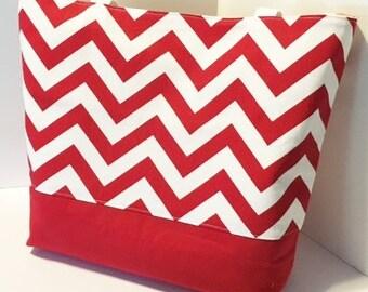 Chevron Beach Bag . Red and White  chevron tote bag . Standard size .  bridesmaid gift . Teacher tote bag . MONOGRAMMING Available