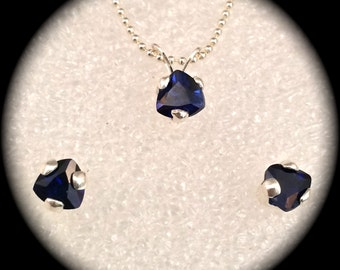 Sapphire Stud Earrings and Necklace Set - September Birthstone - Trillion shaped stones - 5mm - Deep blue