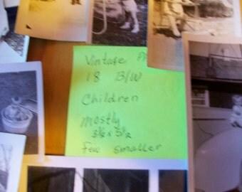 Eighteen Vintage B/W 3 x 5 children photos